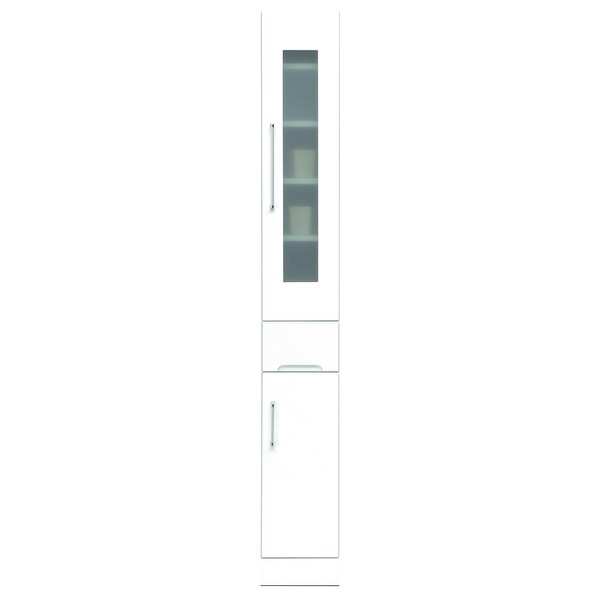スリムボード食器棚/キッチン収納 幅25cm 飛散防止加工ガラス使用 移動棚付き 日本製 ホワイト(白) 【完成品】【開梱設置】【代引不可】