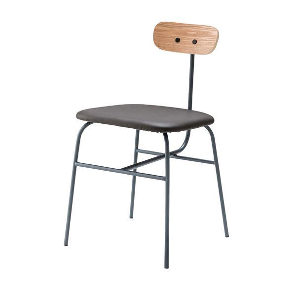 デザインチェア (イス 椅子) /リビングチェア リビング用 応接チェア イス 椅子 【グレー】 金属 スチール フレーム 張地:合成皮革/合皮 フェイクレザー PLC-510GY