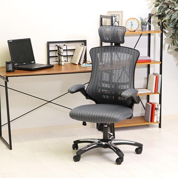 多機能アームアップチェア (イス 椅子) /オフィス 事務用 チェア 【グレイ】 幅66cm ハイバック 高い背もたれ 肘掛け キャスター付 移動可能 車輪付き き 『マスターIII』