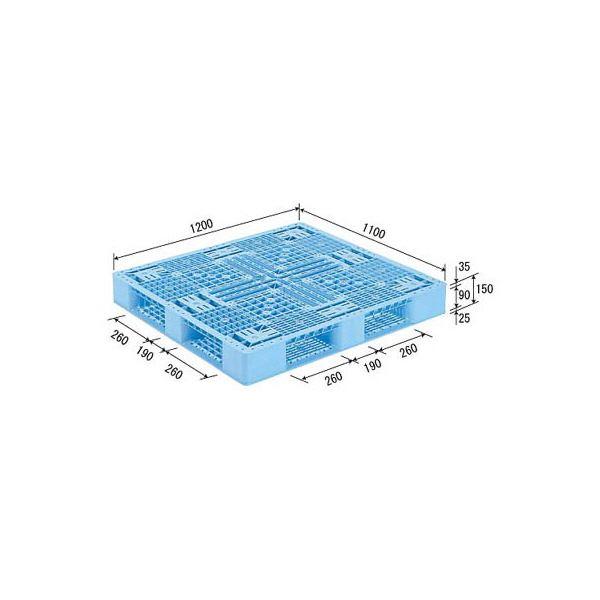 三甲(サンコー) プラスチックパレット/プラパレ 【片面使用型】 D4-1112-2 (PP) ライトブルー(青)【代引不可】