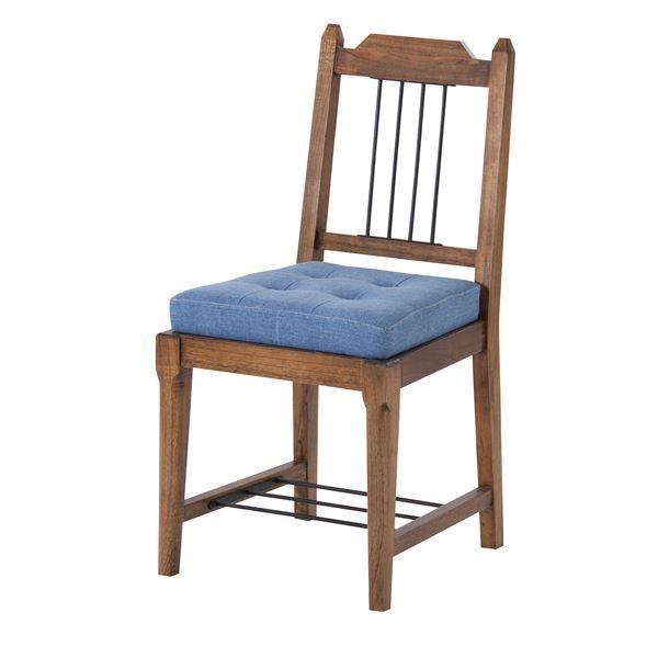 天然木 木製 ダイニングチェア ダイニング用チェア イス 食卓 椅子 (リビングチェア リビング用 応接チェア ) 座面高46cm クッション付き アンティーク レトロ ヴィンテージ 調 『ティンバー』 PM-303