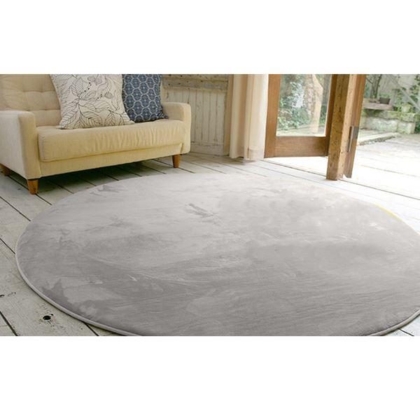 フランネル ラグマット/絨毯 【直径190cm ライトブラウン】 円形 ホットカーペット 床暖房可 低反発&高反発 防音 防滑 茶