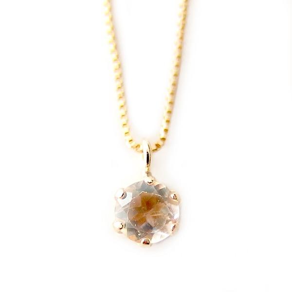 ネックレス ブルームーンストーン K18 イエローゴールド 6月 誕生石 一粒 シンプル プチネックレス ペンダント 青 黄