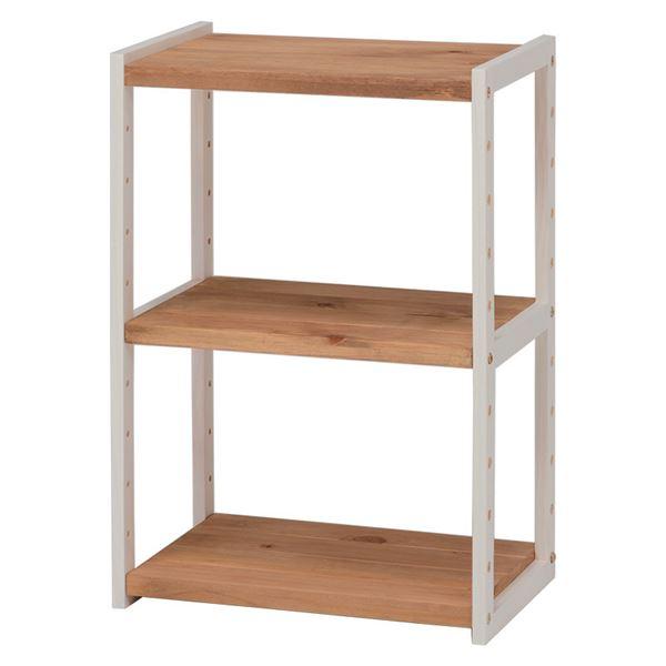 オープンラック/マルチ整理 収納 棚 【2段/幅45cm】 ナチュラルアイボリー 木製 木目調 乳白色