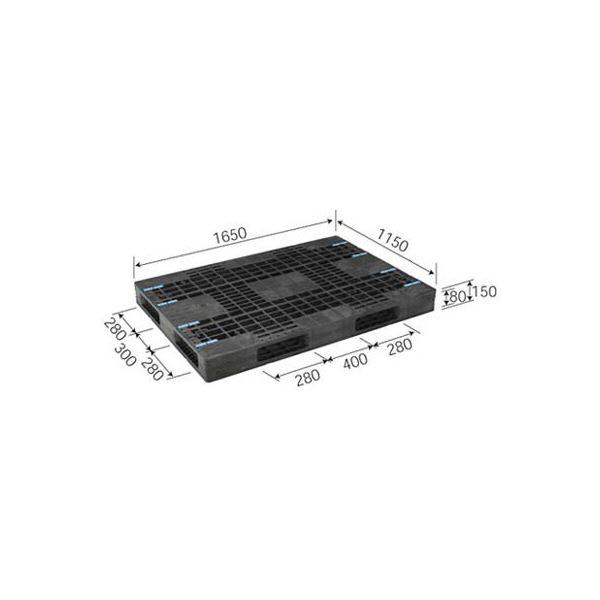三甲(サンコー) プラスチックパレット/プラパレ 【両面使用型】 段積み可 R4-115165F グレー(灰)