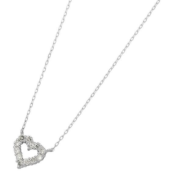 ダイヤモンドペンダント ネックレス 12粒 0.2ct K18 ホワイトゴールド ハートモチーフ 人気のハートダイヤ 白