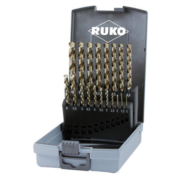RUKO(ルコ) 228214RO 19本組 鉄工ドリルセット HSSE プラ入