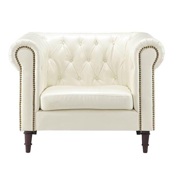 1人掛けソファー/パーソナルチェア (イス 椅子) 【ホワイト】 肘付き 張地:合成皮革/合皮 フェイクレザー 姫系 『フェリーニ』 GS-339WH 白