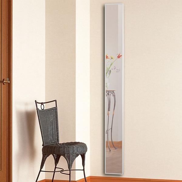 ウォールミラー/姿見鏡 【ホワイト】 幅20cm×奥行3cm×高さ180cm 飛散防止式 吊り紐 金具付 日本製 国産 『フィルスリム1800』 白