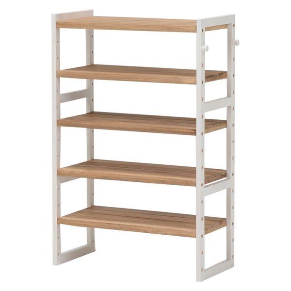 シューズラック(下駄箱/収納棚) 4段 幅60cm 木製 高さ調節可 フック/可動棚付き アイボリー 【代引不可】