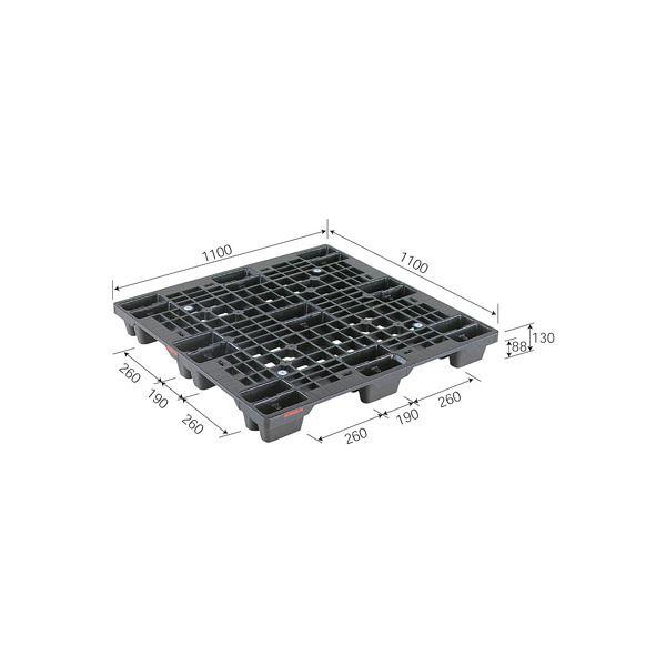 (業務用2個セット)三甲(サンコー) プラスチックパレット/プラパレ 【スタッキング可】 SN4-1111 ピース付 ブラック(黒) 黒