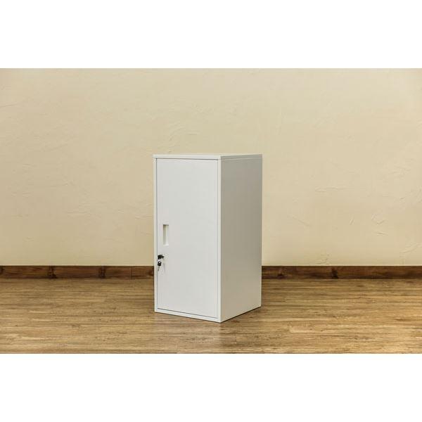 ハイタイプ 高い 鍵付きロッカー/整理 収納 ラック 【ホワイト】 幅38cm 金属 スチール カギ×2個 棚板 転倒防止器具付き 連結可 『キューブBOX』 白