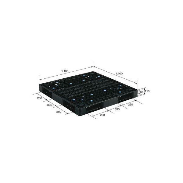 (業務用2個セット)三甲(サンコー) プラスチックパレット/プラパレ 【両面使用型】 段積み可 R4-1111-5 ブラック(黒) 黒