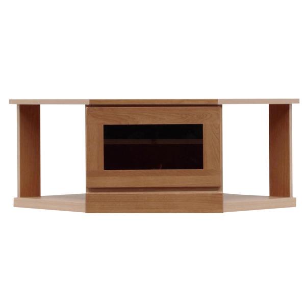 2段コーナー家具/リビングボード 【幅75cm】 木製(天然木) 扉収納付き 日本製 ブラウン 【完成品 開梱設置】【代引不可】