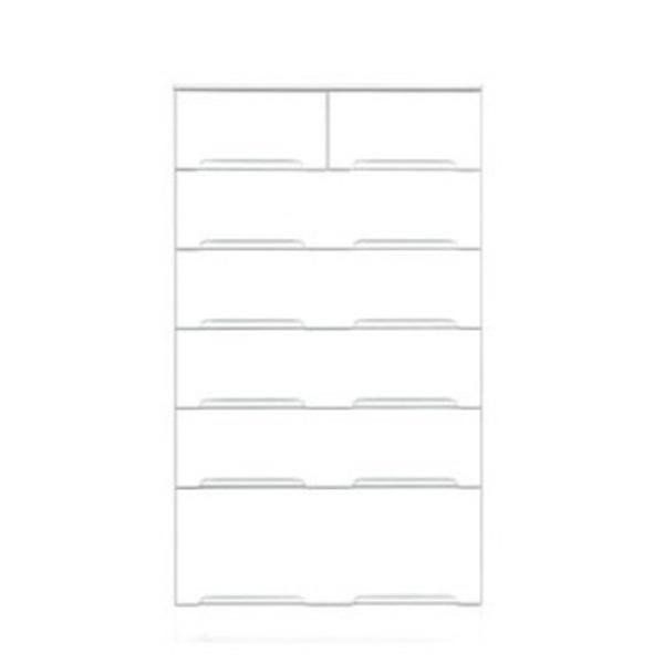 ハイチェスト 6段 【幅70cm】 スライドレール付き引き出し 日本製 ホワイト(白) 【完成品 開梱設置】【代引不可】
