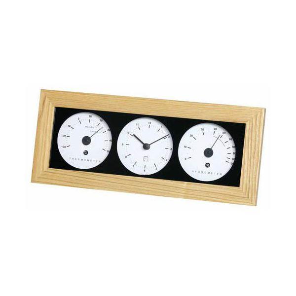 (まとめ)EMPEX 置き掛け兼用 時計 リビウッディ温・湿クロック LV-4300 ナチュラル【×2セット】