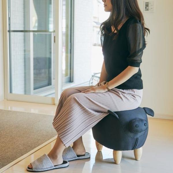 アニマルスツール イス バーチェア 椅子 カウンターチェア /ぶたデザインオットマン 足置き 【ブラック】 張地:ファブリック生地 軽量 黒