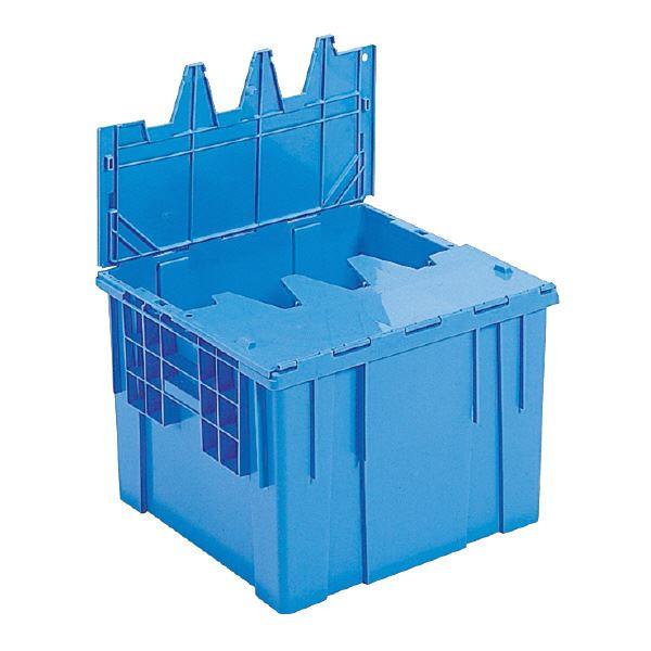 (業務用5個セット)三甲(サンコー) フタ一体型コンテナボックス(重要書類搬送用/サンクレット) #53 ブルー(青) 【代引不可】