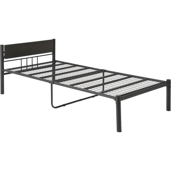 シングルベッド 黒 ブラック 単品 シンプル 可動宮付き (置き台 ヘッドボード 棚付き) ベッド シングル (フレームのみ ) ブラック 金属 スチール ベッドフレーム 〔引っ越し 一人暮らし〕 黒