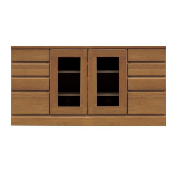 4段ローボード/テレビ台 【幅120cm:37型~52型対応】 木製 扉収納付き 日本製 ブラウン 【完成品 開梱設置】【代引不可】