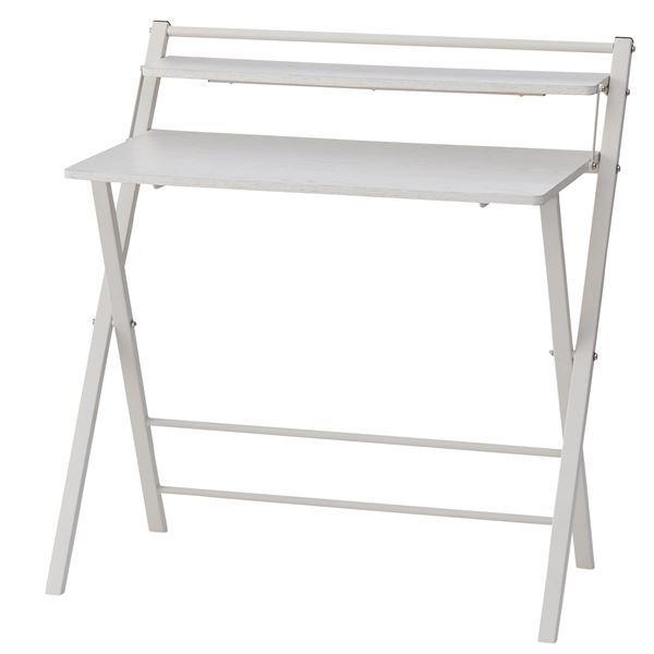 フォールディングデスク (テーブル 机) /折りたたみ机 テーブル 【ホワイト】 幅86cm 金属 スチール フレーム 木目調 PT-22WH 白
