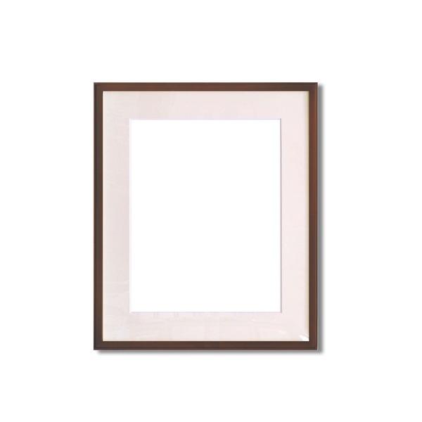 水彩額縁/フレーム 【F8号/ブラウン】 壁掛けひも/アクリル/マット付き 化粧箱入り 9787
