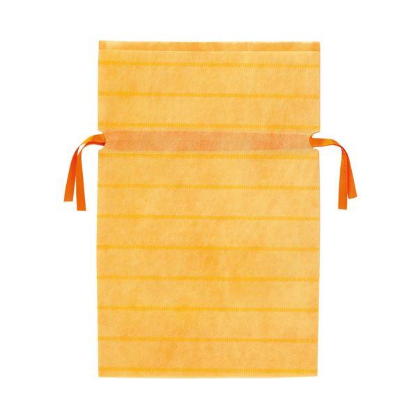 (業務用10セット) カクケイ 不織布リボン付き巾着袋 黄 M 10枚 FK3043
