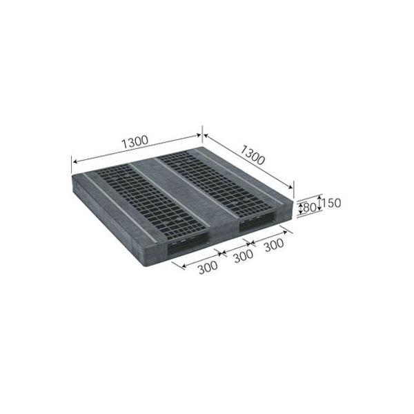 三甲(サンコー) プラスチックパレット/プラパレ 【両面使用型】 段積み可 R2-1313F-3 ブラック(黒)【代引不可】