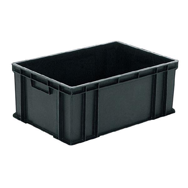 (業務用5個セット)三甲(サンコー) ベタ目コンテナボックス/サンボックス 導電性PP 56A ブラック(黒) 黒