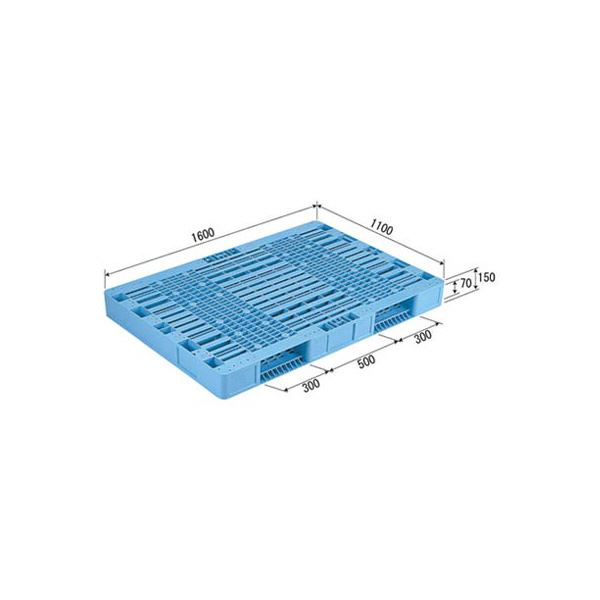 三甲(サンコー) プラスチックパレット/プラパレ 【両面使用型】 段積み可 R2-1116 ライトブルー(青)【代引不可】