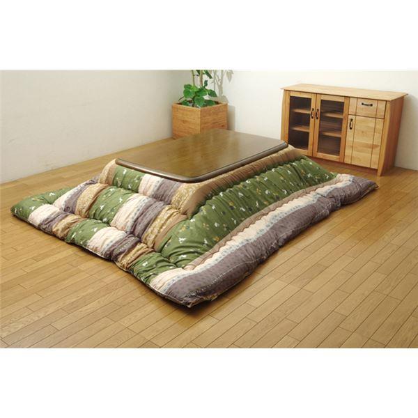 和柄 こたつ布団 長方形 掛け単品 グリーン 約205×245cm 緑