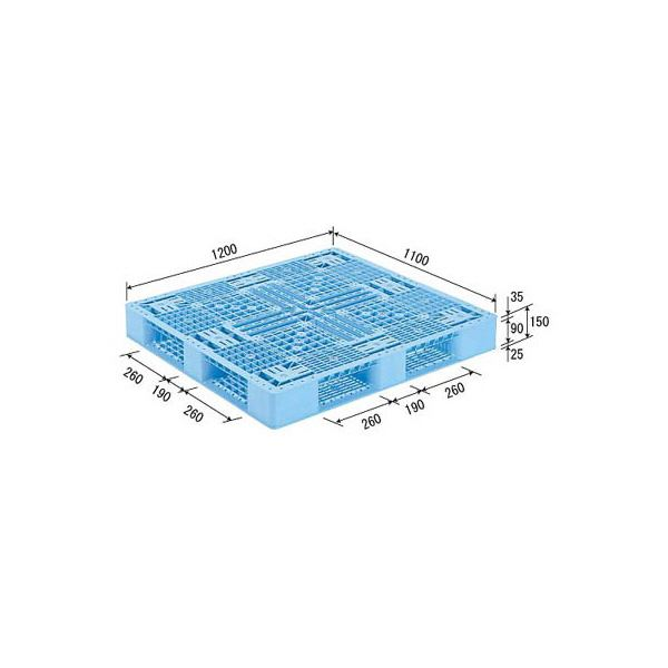 (業務用2個セット)三甲(サンコー) プラスチックパレット/プラパレ 【片面使用型】 D4-1112-2 (PP) ライトブルー(青) 青