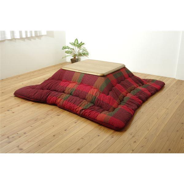 綿100% 無地調 国産 日本製 こたつ布団 こたつ掛け布団 正方形 掛け単品 『びわ』 レッド 約205×205cm 赤