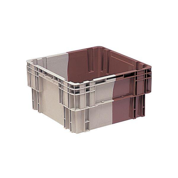 (業務用5個セット)三甲(サンコー) SNコンテナ/2色コンテナボックス 【Nタイプ】 水抜孔有 #71 Aグレー×ブラウン 茶