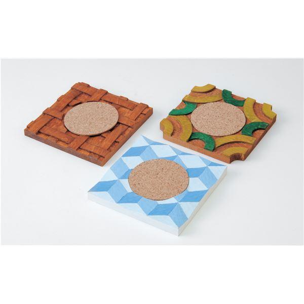 (まとめ) 木彫コースター3枚組 【×15セット】