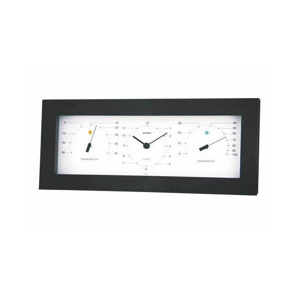 (まとめ)EMPEX置き掛け兼用 MONO 温度計・時計・湿度計 MN-4841 ホワイト【×2セット】 白