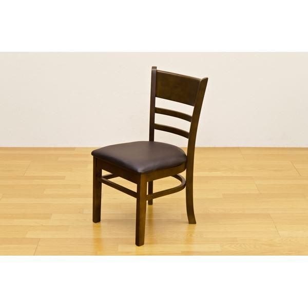 ダイニングチェア ダイニング用チェア イス 食卓 椅子 /リビングチェア リビング用 応接チェア 【2脚セット/ダークブラウン】 座面高:約43cm 張地:合成皮革(合皮 フェイクレザー ) 【完成品】 茶