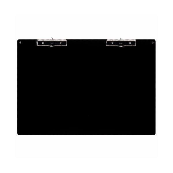 (まとめ) ライオン事務器 アート用箋挟 A2ヨコ 黒 No.71 1枚 【×2セット】