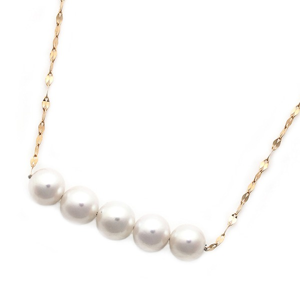 アコヤ真珠 ネックレス パールネックレス K18 ピンクゴールド 約5mm 約5ミリ珠 5個 あこや真珠 ペンダント シンプル パール 本真珠