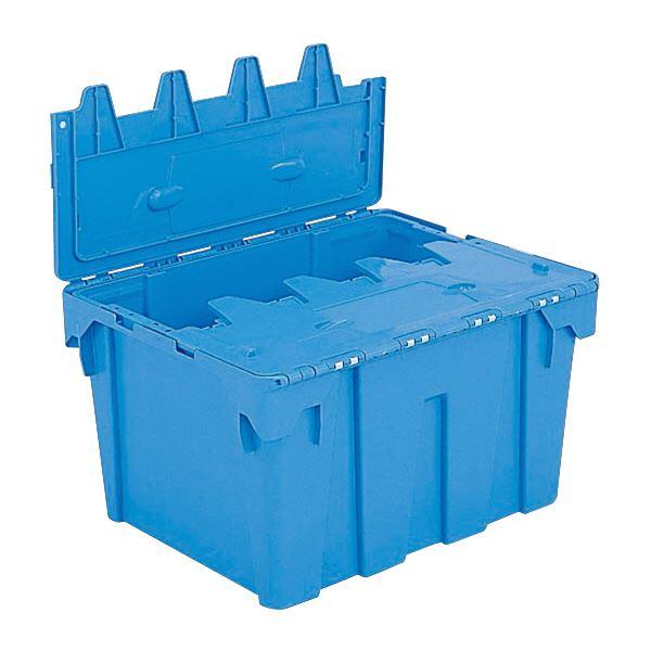 (業務用5個セット)三甲(サンコー) フタ一体型コンテナボックス(重要書類搬送用/サンクレット) 孔無 P#80 ブルー(青) 青