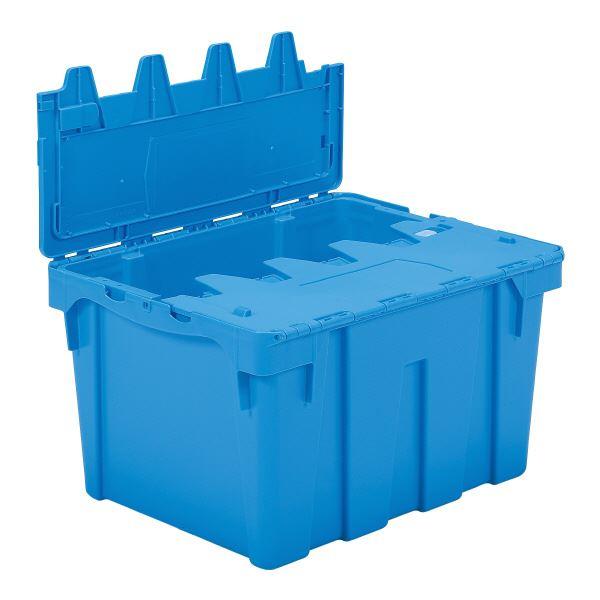 (業務用5個セット)三甲(サンコー) フタ一体型コンテナボックス(重要書類搬送用/サンクレット) P#80B ブルー(青) 青