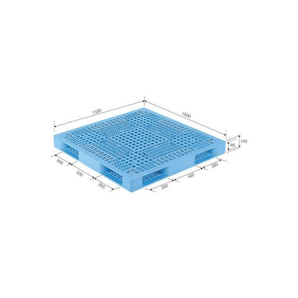 三甲(サンコー) プラスチックパレット/プラパレ 【両面使用型】 段積み可 R4-1515 ライトブルー(青)【代引不可】