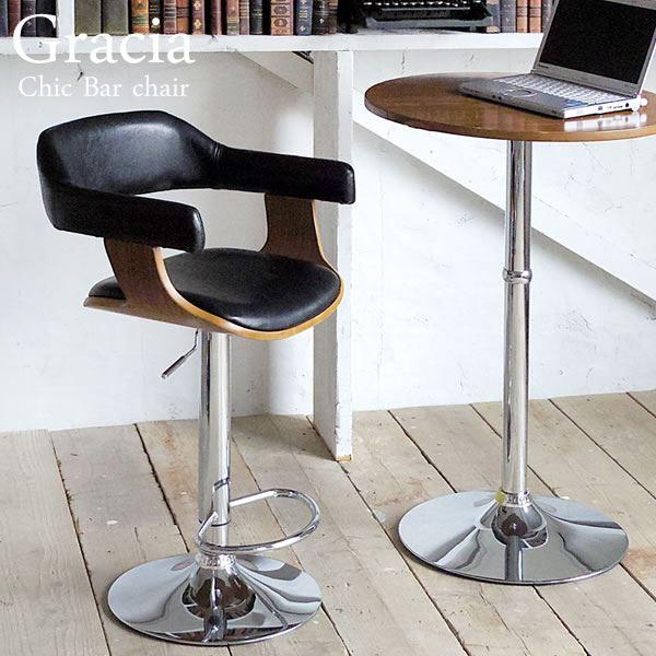 バーチェア (イス 椅子) (カウンターチェア ) 合成皮革/木製(天然木 )/金属 スチール 背もたれ/脚置き付き 座面昇降式/360度回転 ブラック(黒) 黒