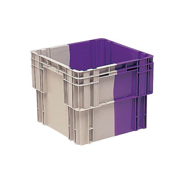 (業務用3個セット)三甲(サンコー) SNコンテナ/2色コンテナボックス 【Nタイプ】 水抜孔有 #107 Aグレー×パープル 紫