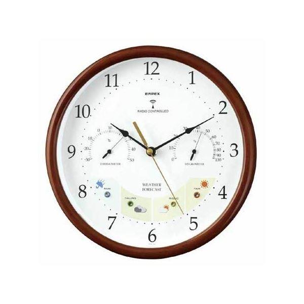 EMPEX 掛け時計 ウェザーパル 電波時計1台4役 BW-873 木枠
