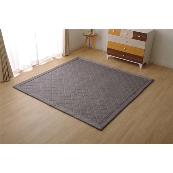 ラグマット じゅうたん 敷き物 カーペット 3畳 デニム調 ニットキルトラグマット 『アルバ2IT』 グレー 約190×240cm ホットカーペット対応