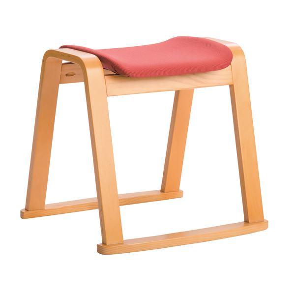 軽量スタッキングスツール イス バーチェア 椅子 カウンターチェア 4脚セット 【ナチュラル×レッド】 幅46cm ファブリック地 ウレタン 〔リビング ダイニング〕 赤