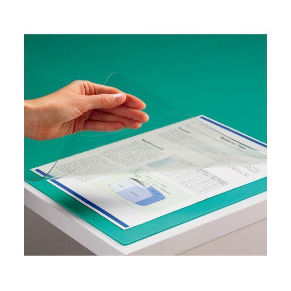 (まとめ) TANOSEE PVCデスク (テーブル 机) マット ダブル(下敷付) 600×450mm グリーン 1枚 【×5セット】 緑
