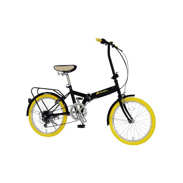 折りたたみ自転車 20インチ/イエロー(黄) シマノ6段変速 【MIWA】 ミワ FD1B-206 黄
