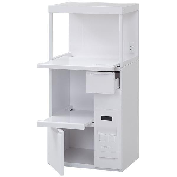 レンジ台 レンジボード レンジ棚 食器棚 キッチンボード 戸棚 /キッチン 台所 整理 収納 【幅60cm】 小引き出し/米びつ/二口コンセント付き スライドテーブル 机